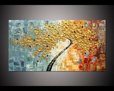Hand-painted Big Modern Home Decor Wall Art Blooming Golden