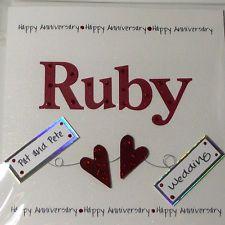 PERSONALISED  HANDMADE      RUBY WEDDING ANNIVERSARY CARD       NEW