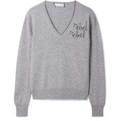 Lingua Franca Rebel Rebel embroidered cashmere sweater (7.655 ARS) ❤ liked on Polyvore featuring tops, sweaters, grey, grey cashmere sweater, loose sweaters, embroidered top, patterned sweater and loose fitting sweaters