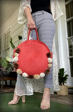 I am finally getting to all the re-styles I have been wanting to do for over a year. I bought this purse at the beginning of spr. Round Straw Bag, Round Bag, Crochet Hooks, Crochet Baby, Pom Pom Purse, Small Scissors, Pom Pom Maker, Diy Purse, Orange Bag