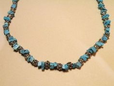 """HANDMADE BLUE TURQUOISE CHIP STONE WITH SILVER TONE BARREL BEADED NECKLACE 18"""" N"""