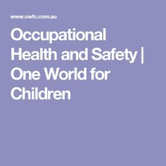Occupational Health and Safety   One World for Children