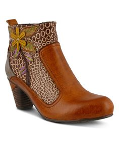 Camel Flower Dramatic Leather Bootie, L'Artiste by Spring Step