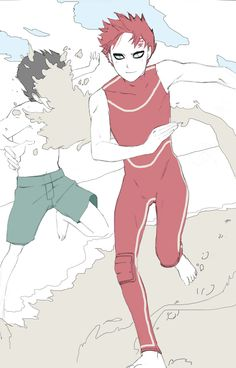 gaara at the beach... Kankuro...----I think that's Lee?