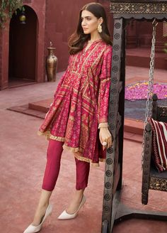 Buy Edenrobe Edenrobe Ladies Pret Collection Embroidered Cotton Net Stitched Kurtis from Sanaulla Store Simple Pakistani Dresses, Pakistani Fashion Casual, Indian Fashion Dresses, Dress Indian Style, Pakistani Dress Design, Indian Designer Outfits, Pakistani Outfits, Indian Outfits, Kurti Designs Pakistani