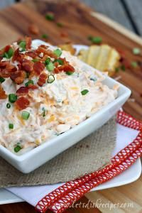 Loaded Baked Potato Dip with Waffle Fries is perfect for a party or movie night!