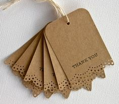 Thank you Gift Tags with lace Trim Rainy Day Colors Etsy Creative Handmade Gift: kids Gift Wrapping Ideas Wedding Favors And Gifts, Wedding Crafts, Card Tags, Gift Tags, Favor Tags, Diy Gifts, Handmade Gifts, Handmade Cards, Christmas Tag