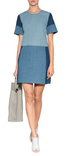 A bold patchwork of mixed wash denim lends a Downtown-cool kick to this shift dress from Jonathan Simkhai #Stylebop