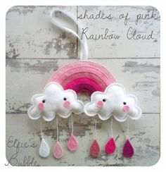 Pink Rainbow Cloud wall hanging, nursery decor, mobile with raindrops Create Yourself, Finding Yourself, Rainbow Cloud, Cheer Up, Rain Drops, Your Child, Kids Bedroom, Nursery Decor, Unique Gifts
