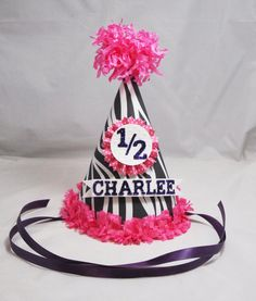 Zebra Party Hat Girl by CardsandMoorebyTerri on Etsy, $13.50