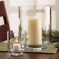 Taylor Large Glass Hurricane Candle Holder | Crate and Barrel