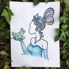 Tiana - princess and the frog zentangle