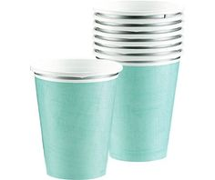 Turquoise Border Cups 18ct - Fashion Tableware - Entertaining & Serving - Categories - Party City