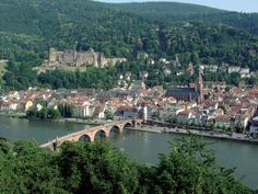 Heidelberg, Germany and the River Neckar in the Black Forest.