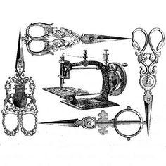 antique scissors and sewing machine printable Vintage Labels, Vintage Ephemera, Vintage Cards, Sewing Art, Sewing Crafts, Sewing Tools, Foto Transfer, Images Vintage, Vintage Sewing Machines