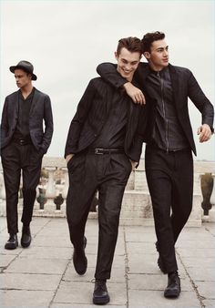 All smiles, Mattia Harnacke, Kit Butler, and Alessio Pozzi come together for Emporio Armani's spring-summer 2017 campaign.