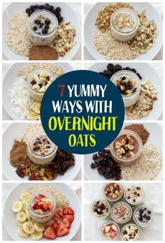 7 Yummy Ways with Overnight Oats. This is such a delicious healthy breakfast! Healthy, tasty, breakfast in a jar! 7 Yummy Ways with Overnight Oats. This is such a delicious healthy breakfast! Healthy, tasty, breakfast in a jar! Breakfast In A Jar, Breakfast Healthy, Breakfast Recipes, Breakfast Ideas, Overnight Breakfast, Healthy Breakfasts, Brunch Recipes, Healthy Snacks, Healthy Recipes