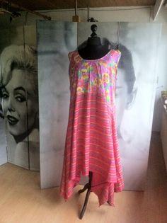 Lagenlook Zipfel Kleid/Überwurf, Blumen, pink/lila,Unikat,EG46-50