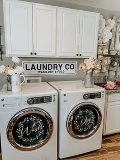 Washer and dryer decals – Fancy Fix Decor for front loader washing machine. Laundry co sign. farmhouse la Washer and dryer decals – Fancy Fix Decor for front loader washing machine. Laundry co sign. Room Makeover, Country House Decor, Rustic House, Laundry, Home, Laundry Mud Room, Washer And Dryer, Stylish Laundry Room, Front Loader Washing Machine
