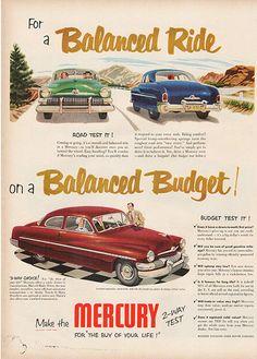 Large Antique 1951 Auto Mercury Car Magazine Print Ad - Approx 11 x 14