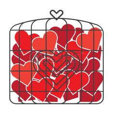 bird cage toy heart illustrate vector color Stock Vector