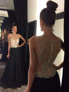 Affordable Scoop Neck Tulle Chiffon Beading Sweep Train Black Prom Dresses