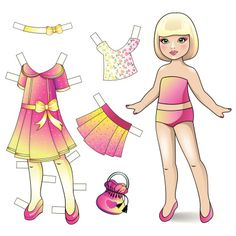 Paper doll with dress and accessories vector art illustration