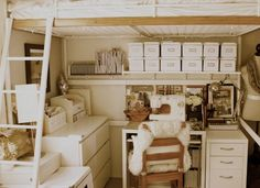 Mel's Complete & Balanced apartment - love the loft bed with the sewing station underneath!