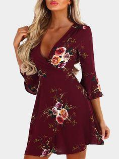 Burgundy Random Floral Print Crossed Collar Bell Sleeves Dress with Zip Design