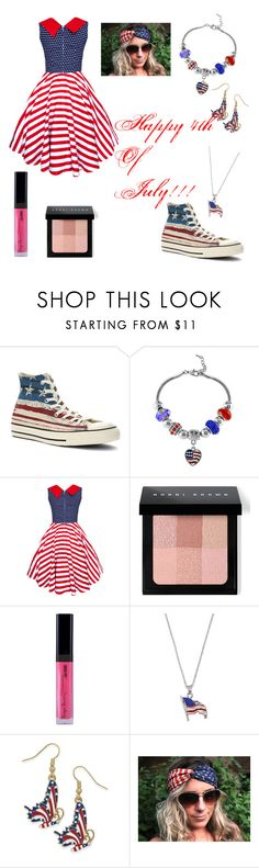 """Fourth Of July"" by adriana4-life on Polyvore featuring Converse, Bobbi Brown Cosmetics, LogoArt and Natures Jewelry"