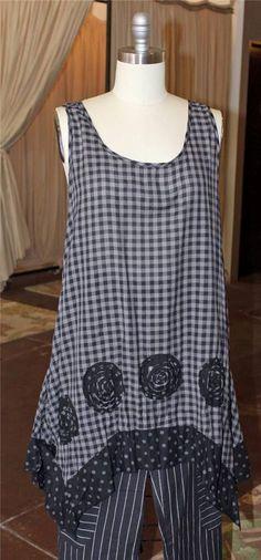 NWT Tulip USA Check Olivia Tunic/Dress 100% Cotton Lagenlook CHOOSE Size M-XL #TulipUSA #Tunic #Casual