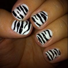 First Zebra design! Get Nails, Fancy Nails, Zebra Acrylic Nails, Hands To Myself, Beauty Ideas, Zebra Print, Print Design, Amber, Nail Designs