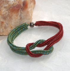 Tucson  Bracelet  Knotted  Turquoise  Brick Red  by time2cre8, $39.00