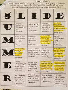 Summer Slide Activities Bing Board created by Charlotte County Schools Kingsway ES. Love the use of activities as part of the Bingo Board. 3rd Grade Centers, County Schools, Thinking Maps, Bingo Board, Summer Slide, Center Ideas, Lesson Plans, Initials, Charlotte