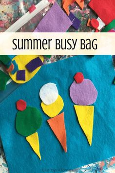Summer felt busy bag activity for toddlers and preschoolers Toddler Busy Bags, Toddler Snacks, Toddler Preschool, Toddler Classroom, Toddler Fun, Art Classroom, Summer Activities For Toddlers, Learning Activities, Preschool Activities