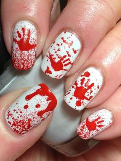 Nail polish: nail art blood halloween halloween makeup red nails