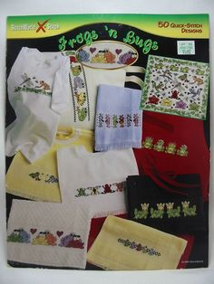 Frogs N Bugs Cross Stitch Pattern Leaflet 50 Quick Stitch Designs #03-238 OOP #StitchWorld #Sampler