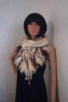 Felted wool scarf-Real fur scarf-Nuno felted scarf-eco print