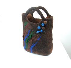 Felted bag  felt purse  nuno felted wool bag brown by AnnaWegg, £52.99