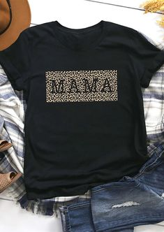 Leopard Printed Mama T-Shirt Tee - Black - Bellelily Momma Shirts, Shirts For Girls, Graphic Shirts, Printed Shirts, Vinyl Shirts, Tee Shirts, Cheetah Print Shirts, Leopard Prints, Shirt Print
