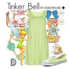 """Tinker Bell +"" by leslieakay ❤ liked on Polyvore featuring Belk Silverworks, Decree, Henri Bendel, Bling Jewelry, Apt. 9, Maxima, Converse, disney, disneybound and plussize"