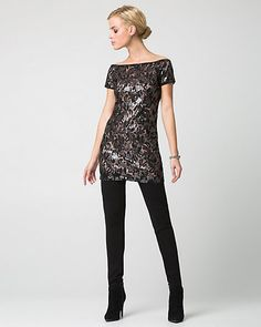 Sequin & Lace Scoop Neck Tunic Top - We love the stunning combination of lace and sequins with this statement-making tunic top. Knit Dress, Peplum Dress, Off The Shoulder Tunic, Classic Outfits, Lace Trim, Scoop Neck, Sequins, Tunic Tops, Clothes For Women