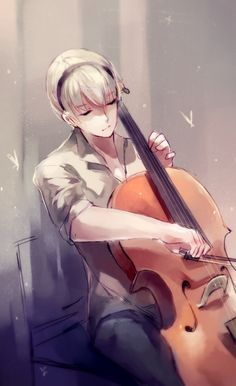 Modern Leo playing the cello