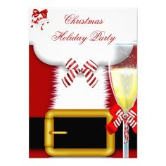 Holiday Party Christmas Santa Suit Champagne Invitation Personalized Invitations by Zizzago.com