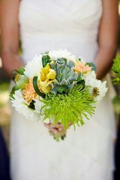 {White Dahlias, Green Spider Mums, Peach Dahlias, Yellow Parrot Tulips, Green Succulent, Green Poppy Pods, Green Beargrass·································}