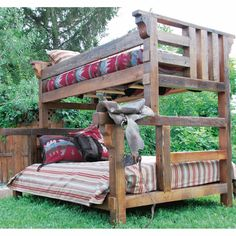 We carry this Wasatch Reclaimed Furniture - Riverwood Bunk Bed, and other fine American-made rustic furniture and décor. Browse our rustic furniture catalogs now. Free Delivery to 48 states. Pallet Bunk Beds, Wood Bunk Beds, Bunk Beds With Stairs, Full Bunk Beds, Kid Beds, Timber Beds, Rustic Furniture Stores, Reclaimed Furniture, Western Furniture