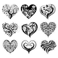 set of tattoo hearts royalty free stock vector art illustration