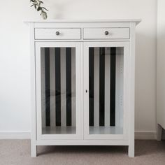Ikea Hemnes Linen cabinet hack. From red to white with black and white striped interior.