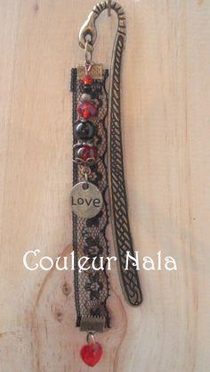 SPECIAL SAINT VALENTIN Marque pages bijoux de 12cm en métal bronze, dentelle noire, perles verre et métal, coeur : Marque-pages par couleur-nala