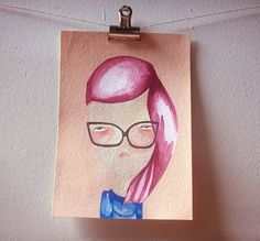 she wasn't in the mood-original painting on paper. $36.00, via Etsy.